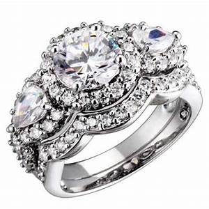 sterling silver 3 stone round pear cubic zirconia antique With zirconia wedding ring sets