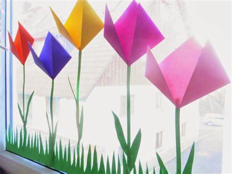 basteln mit kindern sommer fenster endlich ist die sonne wieder da und die ersten tulpen