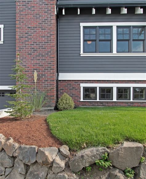 gray siding with brick curb appeal grey