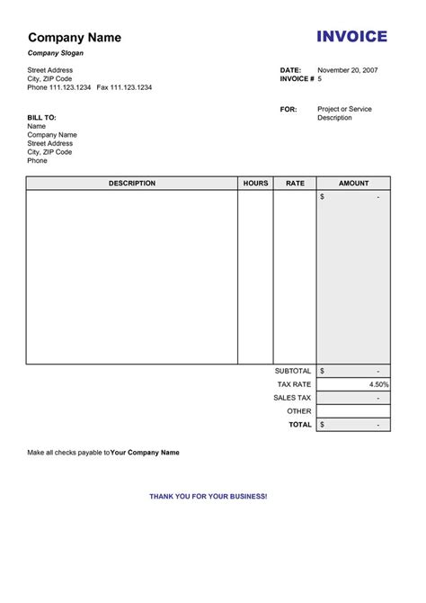 blank billing invoice scope  work template invoice