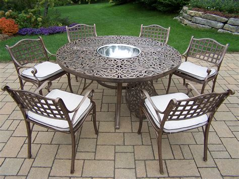 oakland living aluminum patio dining set 60 quot