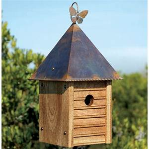 Homestead Wooden Bird House with Copper Roof - Yard Envy