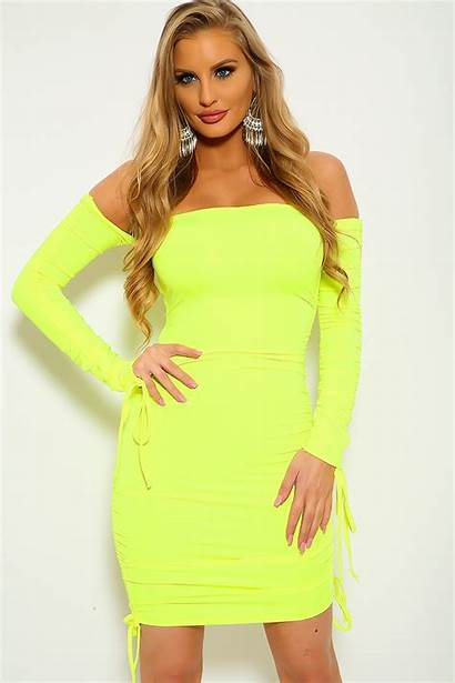 Yellow Neon Mini Sleeve Ruched Clothing