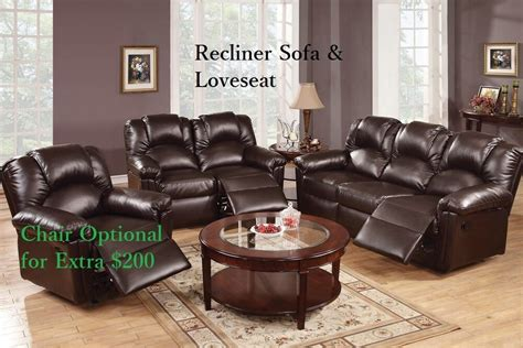 Sofa Loveseat And Recliner Sets by Sofa Leather Sofa Furniture 2 Pcs Living Room Set