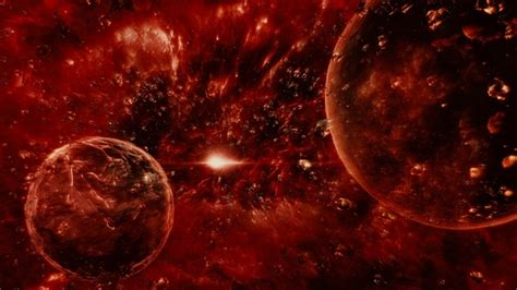 abstract dark red space scene  planets  asteroids