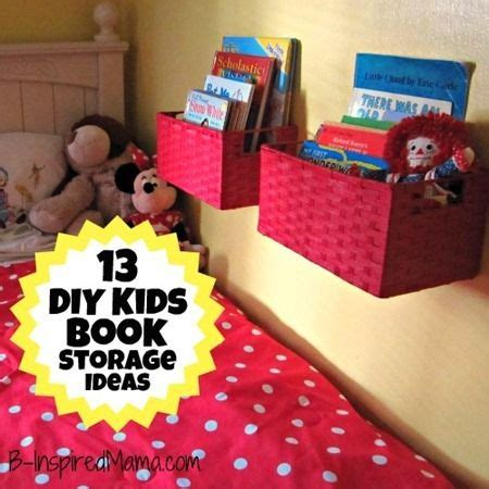 a diy wall book display with baskets 12 more kid s book