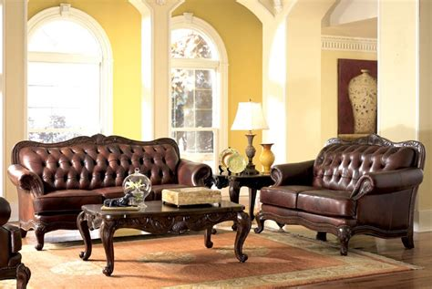 terracotta sofa living room tufted victorian style brown leather sofa love seat