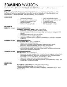 automotive technician resume sle my perfect resume