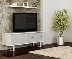 Meuble Laqué Blanc Ikea : tema home milo meuble tv design laque blanc avec portes tiroirs laques gris leger ~ Melissatoandfro.com Idées de Décoration