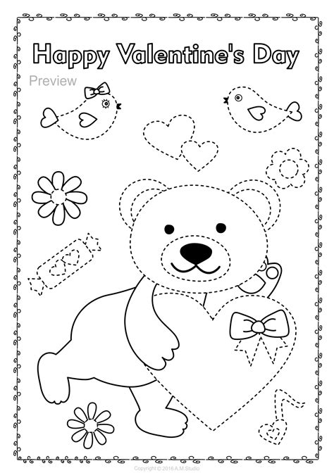 valentines day trace  color pages fine motor skills