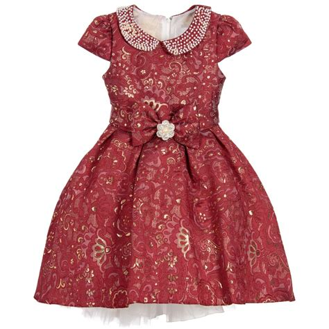 romano princess girls red gold brocade dress