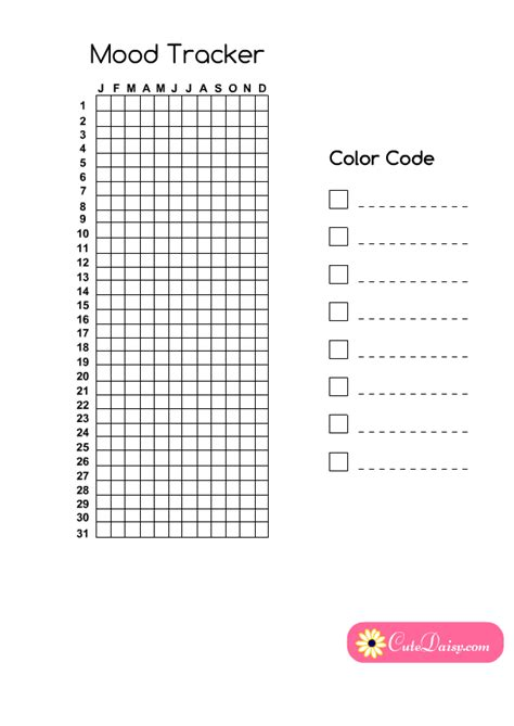 year in pixels template free printable year in pixels mood tracker for planner