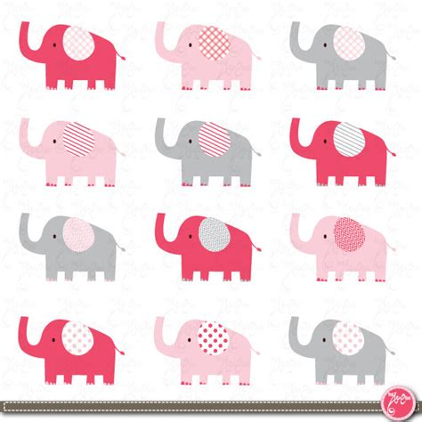 Animal Theme Baby Shower by Elephant Clip Art Cute Baby Elephant Pink Baby By Yenzarthaut