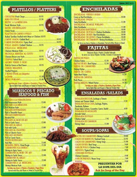 menu cuisine puebla restaurant in dyker heights 11228 menus photos information