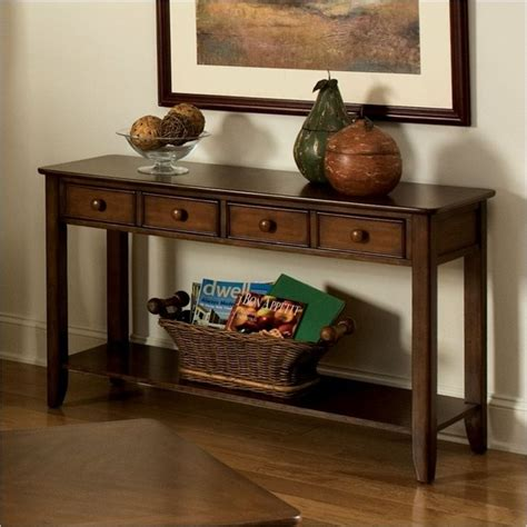 standard furniture hialeah court sofa table  rich cherry craftsman side tables