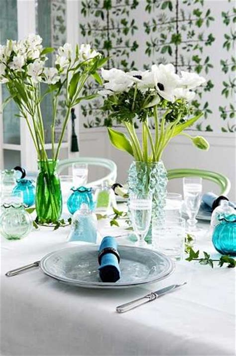 dining room decorating  white turquoise  green colors