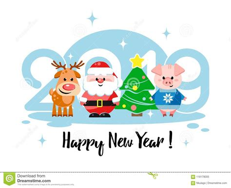 Happy New Year 2019! Greeting Card With Cute Cartoon