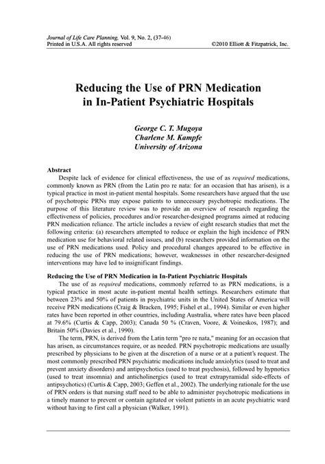 reducing    prn medication   patient