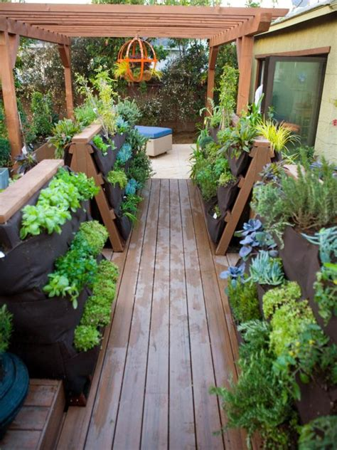 deck gardening containers vertical container gardening on a deck hgtv