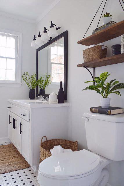 black  white bathroom  wood accent diy modern
