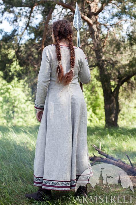 viking natural linen dress eydis  shieldmaiden