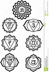 Chakra Symbols Dreamstime Chakras Coloring Seven Sketch Credit Larger sketch template