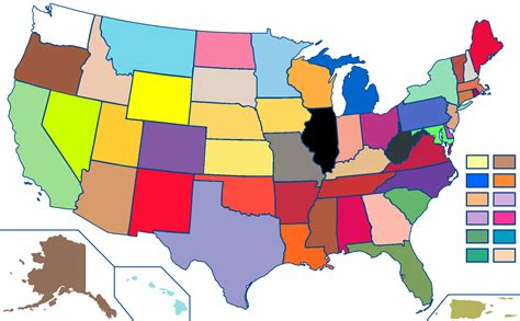 Crayola State Colors Map (MIC) 2000x1237 : MapPorn