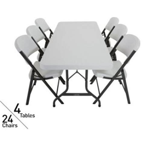lifetime tables and chairs 4 lifetime 6 39 folding tables and 24 folding chairs 80148 white