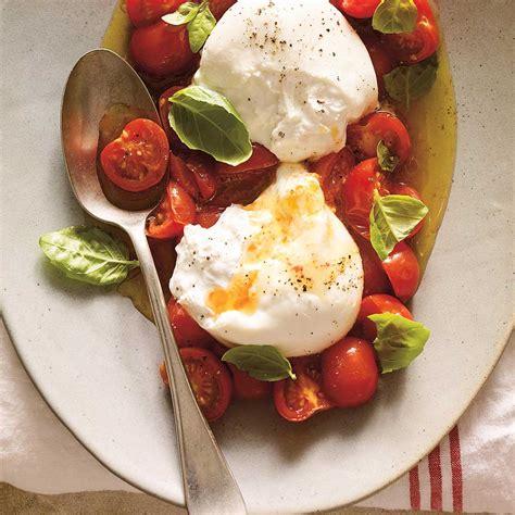 cuisine d été recette burrata à la tomate cerise confite ricardo