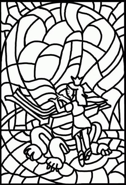 Coloring Stained Glass Pages Medieval Window Printable