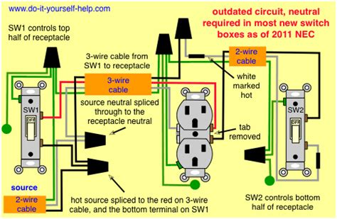 Wiring Diagram For Two Switches Control One Receptacle