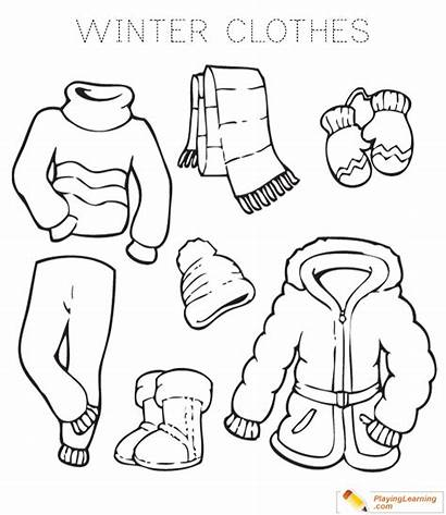 Clothes Winter Coloring Drawing Sheet Date Paintingvalley