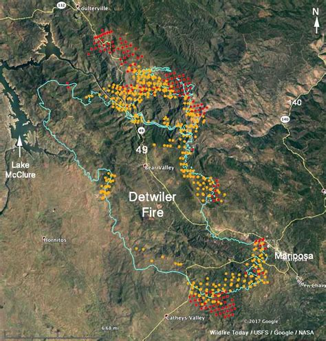 updated map  detwiler fire  mariposa ca wednesday