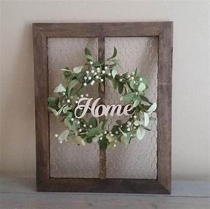 Chicken, Wire, Frame, With, Wreath, Rustic, Wall, Decor, Farmhouse