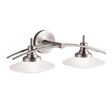 kichler lighting 6162ni structures wall mount 2 light halogen bath light with glass shades