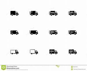 Delivery Trucks Icons On White Background. Stock Photos ...