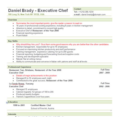 Free Executive Chef Resume Templates by Free Sle Executive Chef Resume Template