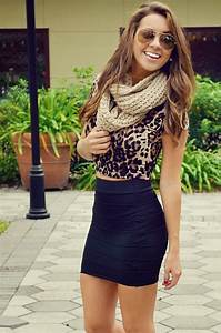 Leopard Blouse Black Mini Skirt With Scarf Cute Outfit ...