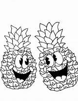 Pineapple Coloring Happy Pair Pages Outline Cartoon Pineapples Drawing Spongebob Printable Getdrawings Getcoloringpages Colornimbus sketch template