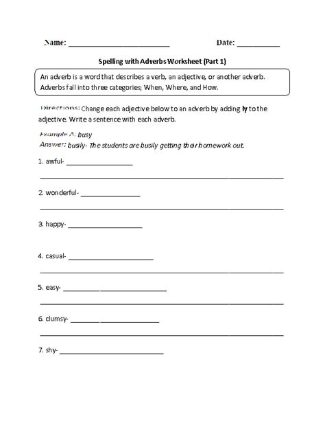 Englishlinxcom  Adverbs Worksheets