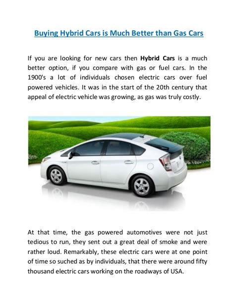 Hybrid Cars Gas by Hybrid Cars Better Than Gas Cars