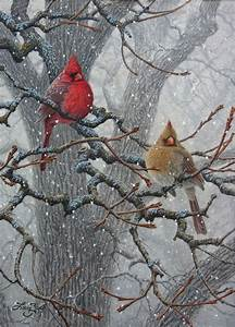 Winter Pair - Cardinals - bird painting by Larry Zach ...