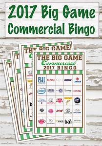 2017 Big Game Commercial Bingo