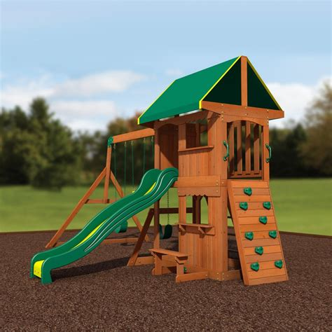 Backyard Discovery Cedar View Swing Set by Somerset Wooden Swing Set Playsets Backyard Discovery