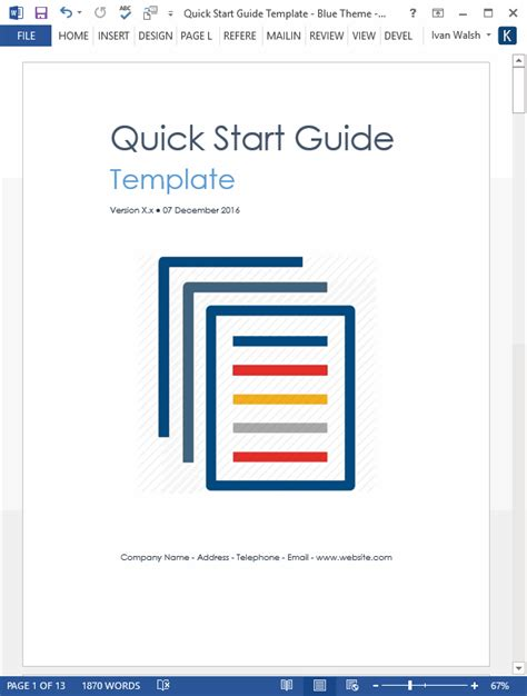 start it wp template quick start guide template ms word