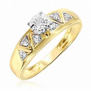 1 2 carat diamond trio wedding ring set 10k yellow gold With 10k yellow gold wedding ring set