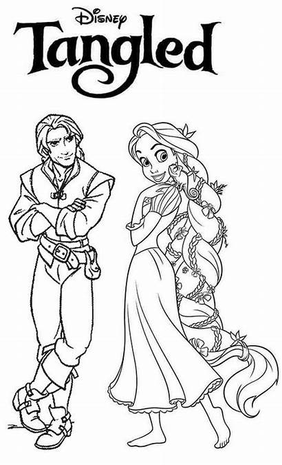 Rapunzel Coloring Tangled Flynn Rider Pages Disney