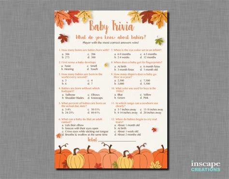 baby trivia game printable pumpkin baby shower baby trivia