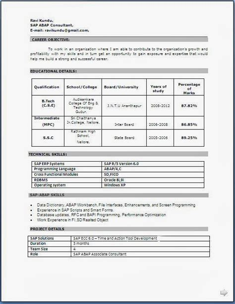 technical resume format for freshers free 28 images m