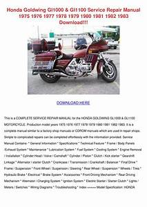 Honda Goldwing Gl1000 Gl1100 Service Repair M By Natishamusgrove